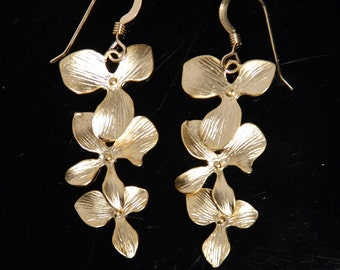 Gold orchid cascade 14K gold filled earrings