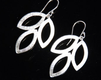 Silver big leaf earrings