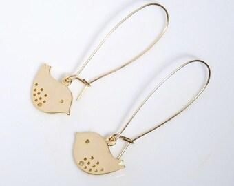 Gold lovely birds gold filled earrings