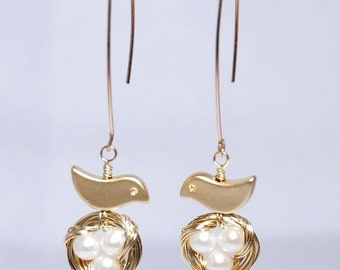 Mini bird nest 12K gold filled earrings