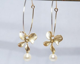 Freshwater Pearl single orchid gold filled earrings
