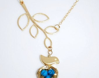 Mini bird nest tree branches 14K gold filled necklace-turquosie