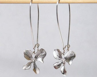 Silver orchid flower srerling silver earrings