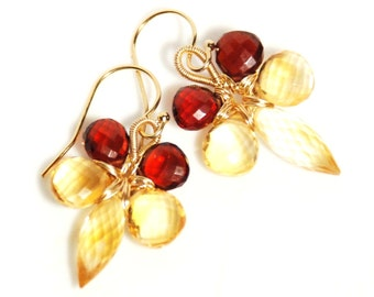 Grade AAA micro faceted Garnet and Citrine 14K gold filled wire wrapped flower earrings