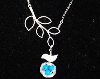 Mini bird nest tree branches sterling silver necklace-turquosie