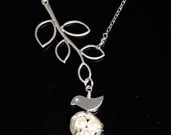Mini bird nest tree branches sterling silver necklace-freshwater pearls white