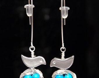 Mini bird nest sterling silver earrings-turquosie robin eggs