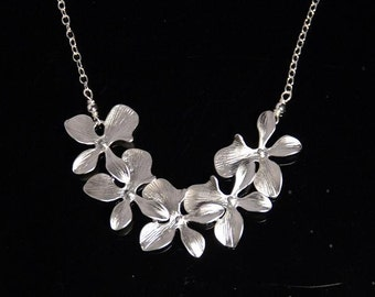 Silver orchid cascade necklace, sterling silver chain