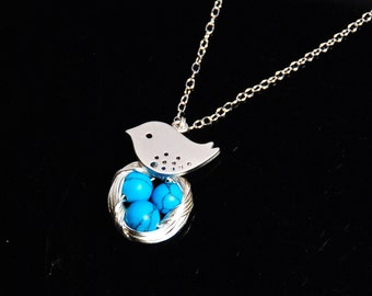 Bird nest necklace with sterling silver chain robin eggs - choose the number of eggs