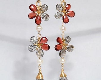 Faceted Garnet tourmalinated Quartz 14K gold filled wire wrapped flower long dangle earrings