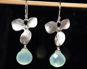 Single silver orchid flower aqua chalcedony earrings