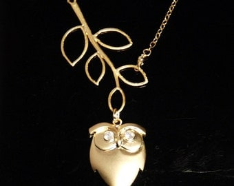 Owl and the tree 14K gold filled necklace