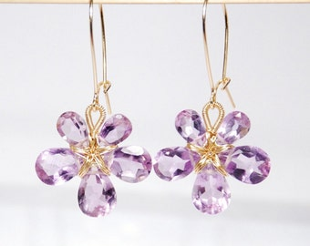 February birthstone earrings, amethyst, 14K gold filled wire wrapped flower earrings, grade AAA pink amethyst ready to ship