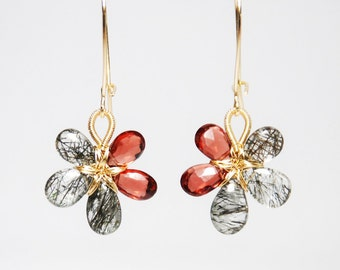 Faceted garnet smooth tourmalinated quartz 14K gold filled wire wrapped flower earrings grade AA-AAA