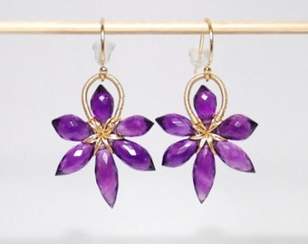 Grade AA-AAA amethyst slim flower 14K gold filled earrings