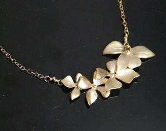 Gold flower necklace, gold leaf necklace, four flower cascade necklace, 14K gold filled necklace