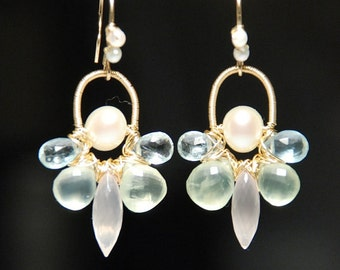 Gemstone flower earrings, 14K gold filled earrings, rose quartz, pearl, aquamarine, prehnite earrings