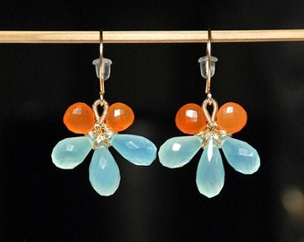 Faceted aqua chalcedony micro faceted carnelain14K gold filled wire wrapped flower earrings grade AAA stones