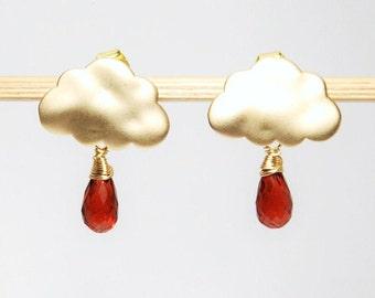 Gold rain drop earrings with sterling silver post and grade AAA Swiss garnet teardrops
