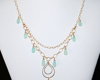 Chalcedony 14K gold filled necklace and earrings set