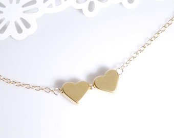 14K gold filled necklace, in love necklace in gold, wedding jewelry, birthday jewelry gift, heart necklace