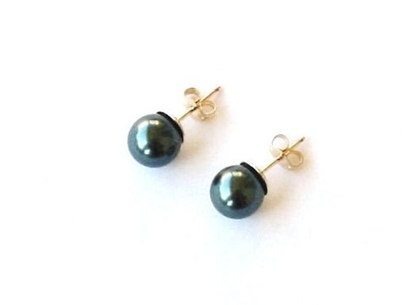 Simply Pearl Earrings--Tahitian-Look, Golden