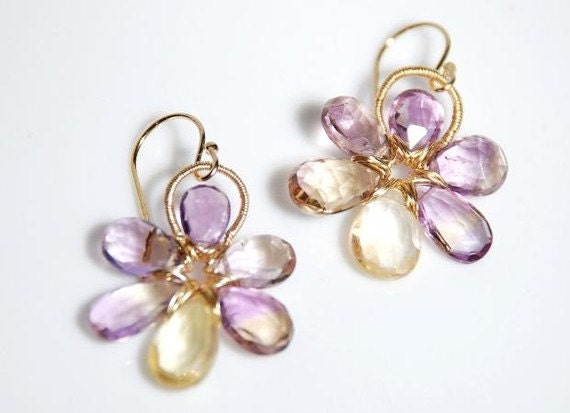 Ametrine and Citrine 14K gold filled wire wrapped flower earrings