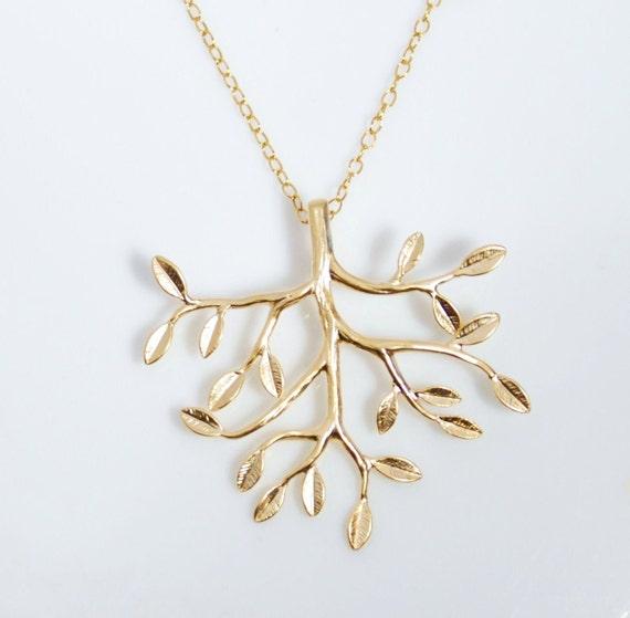 Gold prospective tree 14K gold filled necklace