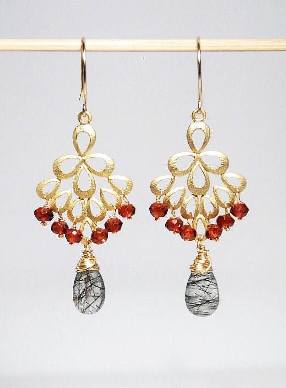 Peacock earring, gold filled earrings, garnet earrings, tourmalinated quartz earrings
