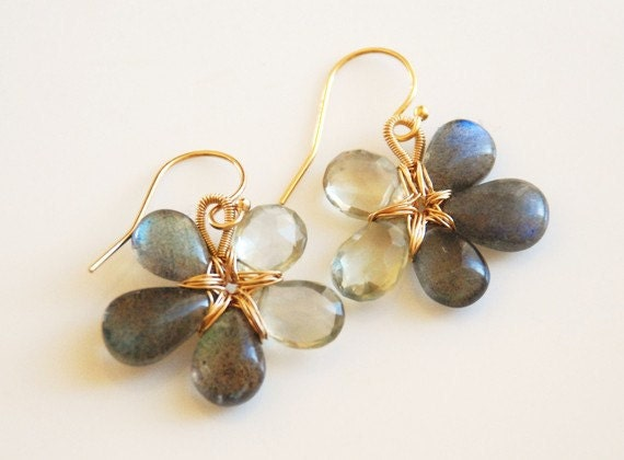 Green Amethyst and Labradorite flower earrings- 14K gold filled