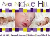 CLEARANCE-50% OFF Baby Birth Announcement... A Custom Photo Card