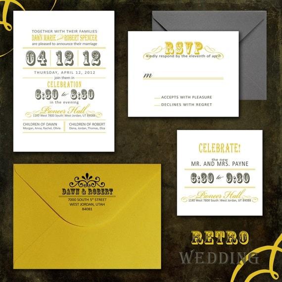 Retro Wedding Invitations DIY Wedding Invitation PDF or Printed for You