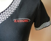 Vintage Race Girl Shirt, Race Car, Punk, 90's, Black and White Checked, Goth, Teen