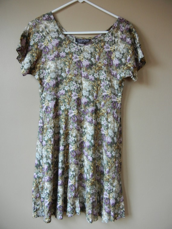 Floral Grunge Dress- Lavender Whimsical Magical Size xs-small