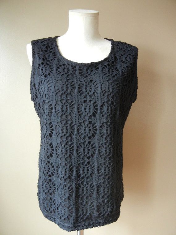 Deadstock Black Sleeveless Lined Crochet Top, Size Large