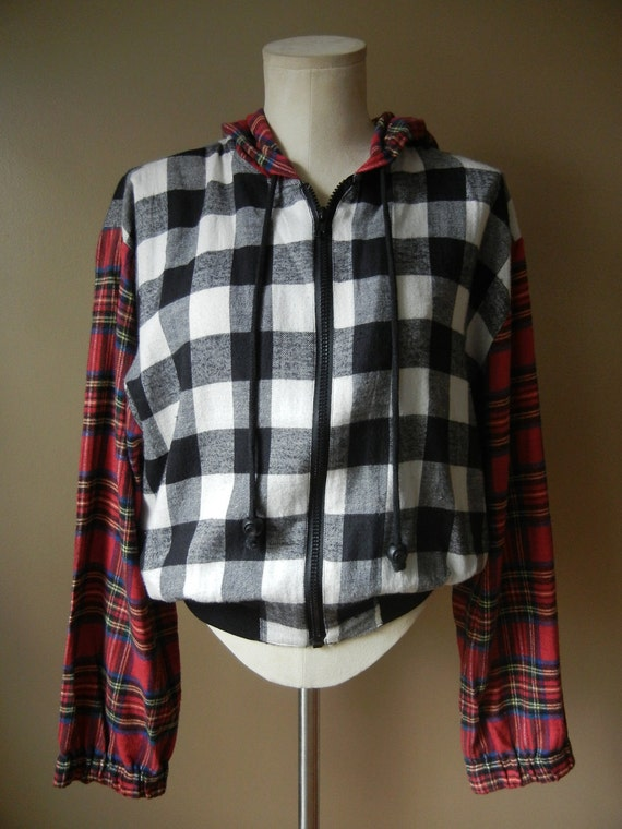 Reserved for Rachael, please don't purchase Fantastic Grunge Plaid Mixed Print Flannel Hoodie