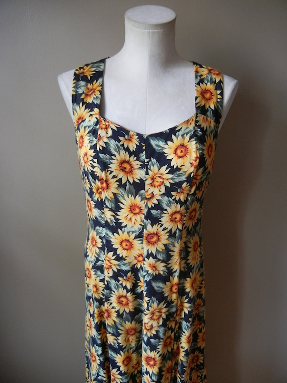 VIntage 90's Sunflower Dress, Size Small, Maxi Dress, Grunge, Sleeveless, Floral, Hipster