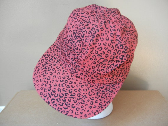 Vintage Leopard Print Hat, 80's, Pink, Red, Funky, Bold, Club Kid, Retro, Unisex