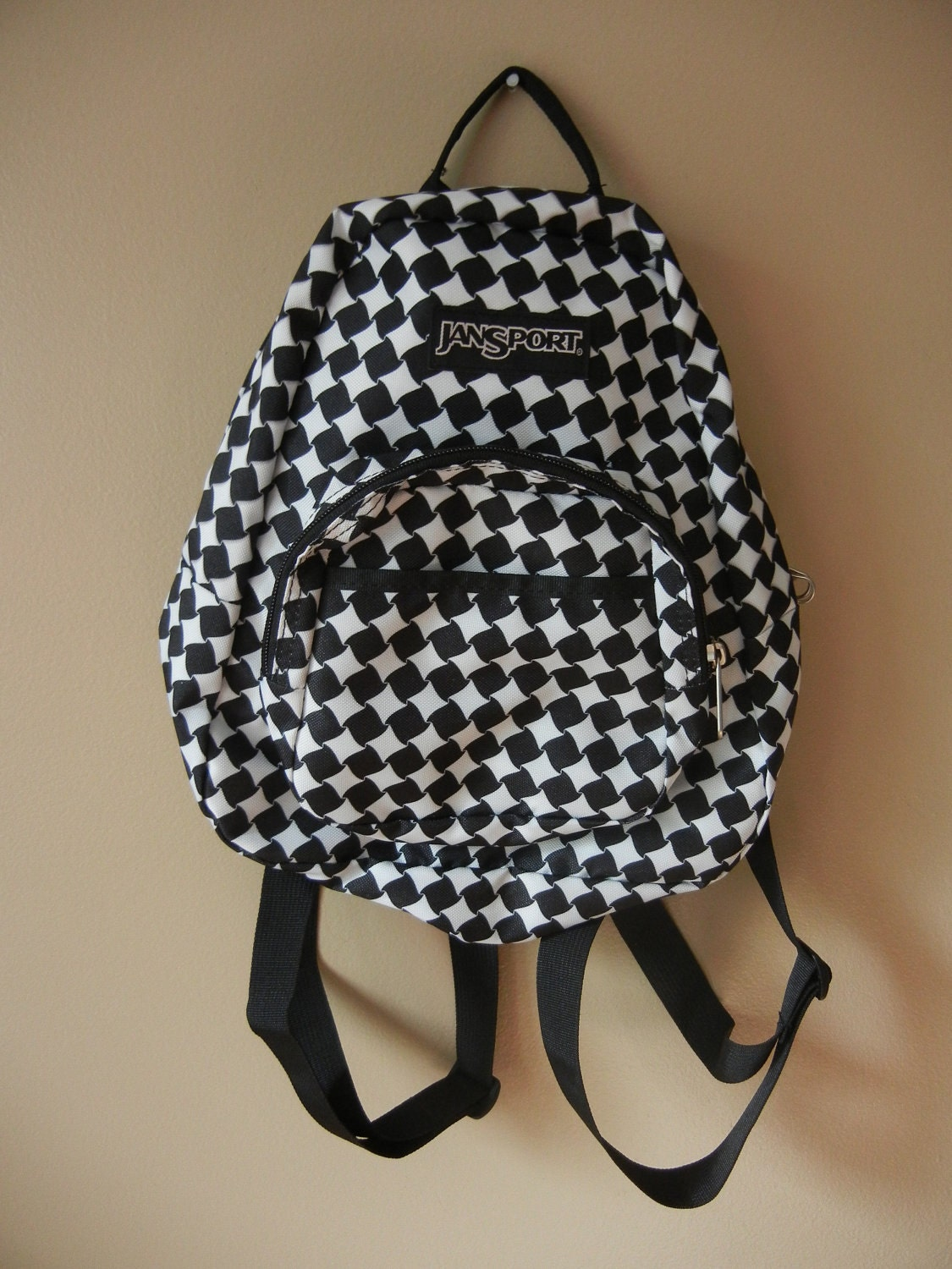 Jansport Mini Backpack Black and White Houndstooth Print