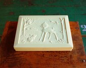 Bambi & Thumper Knockoff Pencil Box, Vintage Cream White Plastic Box