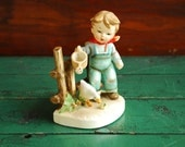 Hummel Knockoff Boy and Goose Figurine, Made in Japan