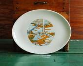 Y Bridge Souvenir China Platter from Zanesville Ohio, Vintage Tourist Kitsch
