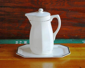 Mikori Ware Coffee Carafe Set, Japanese Ceramics, White and Silver Pitcher and Platter