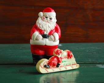 Santa Squeeze Toys, Christmas Decoration, Vintage Edward Mobley Squeaky Toy