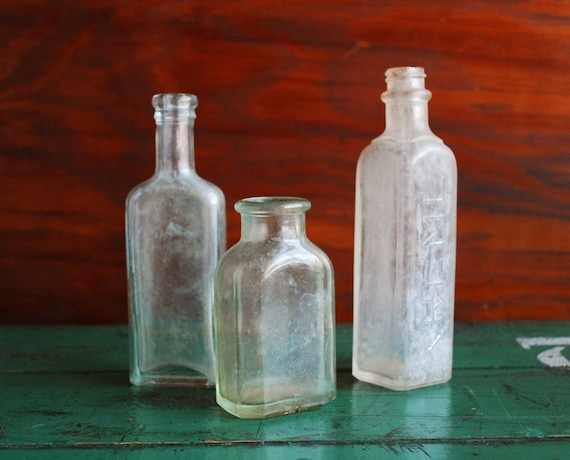 Antique Bottles, Set of 3, Patent Medicine Bottle collection, Beautiful Patina of Age