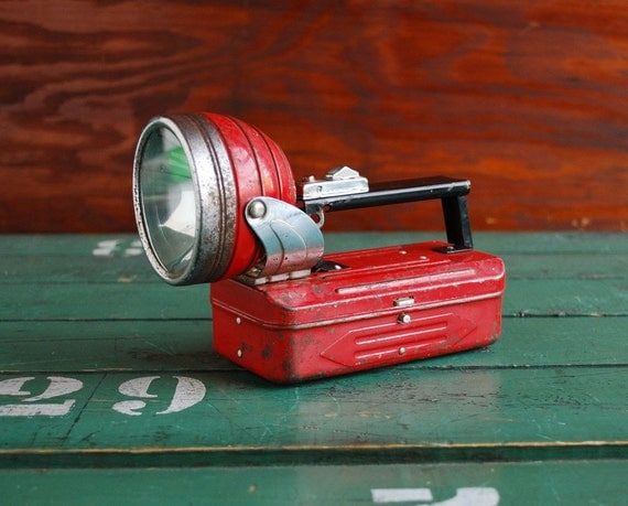 Vintage Red Flashlight, Swivel Head, Made in Hong Kong 1950s