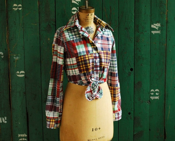 RESERVED - Plaid Shirt with Waist Tie, Country Clothing, Urban Cowgirl, Resort Wear, Tie Waisted Shirt