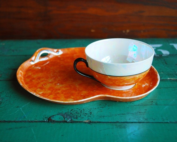 Orange Lustreware Teacup and Tray, or Soup and Sandwich Lusterware Set