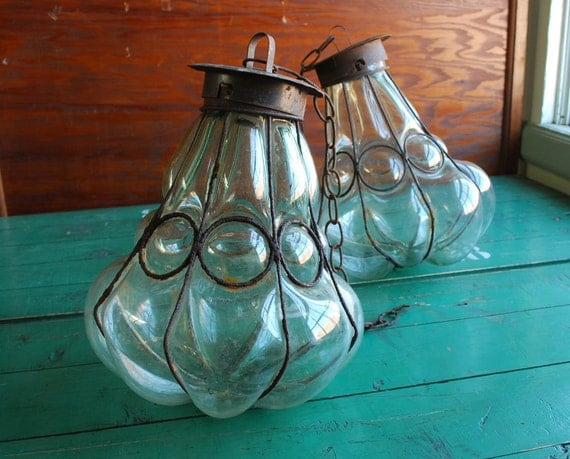 Blown Glass Caged Globes
