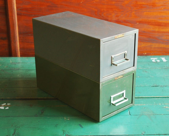 Steelmaster Stacking Metal File Card Cabinets Mid Century Industrial Office Storage